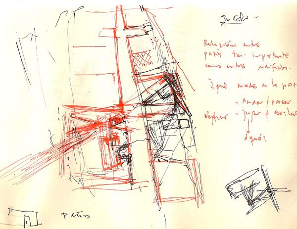 Bocetos para proyecto Tuñon y Mansilla ETSAM